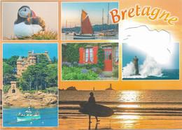 CARTES GÉOGRAPHIQUES -  CARTE DE LA BRETAGNE - CARTE À TROU - 6 PETITES VUES - CPM - VIERGE - - Cartes Géographiques