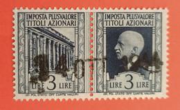 MARCA DA BOLLO - MARCHE PLUS VALORE TITOLI AZIONARI - 1943 - LIRE 3 - Ohne Zuordnung