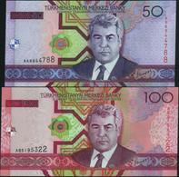 ♛ TURKMENISTAN - 50+100 Manat 2005 {Pcs.2 Set} UNC P.17 + 18 - Turkmenistan