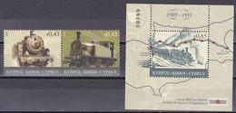 Md_ Zypern Kibris Cyprus 2010 - Mi.Nr. 1184 - 1185 + Block 31 - Postfrisch MNH - Eisenbahnen Railsways Lokomotiven - Treni