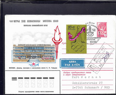 Soviet Registered Postal Stationary 1980 Olympic Games In Moscow - Torch Relay (G118-24) - Sommer 1980: Moskau
