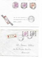 LE 1071. 2 Lettres RECOMMANDEES Ambulant BRUXELLES-CHARLEROI 1975/81 - GRIFFES 5e BRIGADE Et BXL-CHARLEROI. TB - Bahnpoststempel