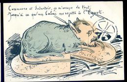 Cpa Illustrateur Politique Satirique Signée Lesieur  -- Commerce Industrie -- Balai à L' égout NOV20-28 - Satira