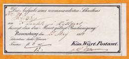1850 - Postbeleg - Reçu Postal - Wurtenberg - Stuttgart - Ravensburg - Wurtemberg