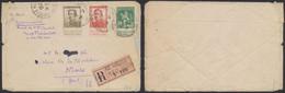 """Pellens - Affranch. Tricolore çàd N°110, 123 Et 124 Sur Lettre En Recommandé De """"Le Havre (spécial) / 1er Reg. Sup."""" > N - 1912 Pellens"""