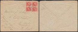"""Croix-rouge - N°130 En Bloc De 4 Sur Lettre Obl """"Le Havre (spécial)"""" + Censure C.f > La Haye (Hollande) - 1914-1915 Croce Rossa"""
