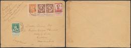 Pellens - N°108, 109 En Paire, 110 Et 123 Sur Lettre Obl P.M.B. 8 (1915, Parc Automobile à Calais) > Lathom (Angleterre) - 1912 Pellens
