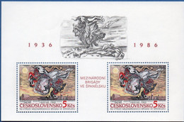 Ceskoslovakia 1985 Spanish Brigades Formation Block MNH 2011.1825 Civil War, Painting By Sychra - Other