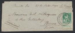 """Pellens - N°110 Sur Bandelette Pour Imprimé Expédié De """"Le Havre (spécial)"""" > Berne (Suisse) - 1912 Pellens"""