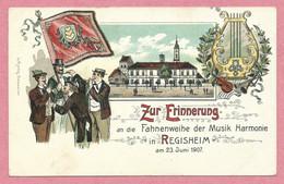 68 - REGISHEIM - REGUISHEIM - Litho Couleur - Fahnenweihe Der Musik Harmonie - Fête De Musique - Carte Illustrée - Autres Communes
