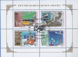 Turkey 1989 Postal Organisatio 150 Yr Block Cancelled 2011.1829, Post Tartare, Morse Key, Telegraph Wire, Satelite Disk - Poste