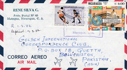 1982 Nicaragua To Pakistan Cover With Football Soccer Stamps Sports - Non Classés