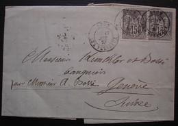 Lyon 1877 Paire N°77 Sur Lettre Du Comité Protestant De Lyon, Raoul De Cazenove (voir Intérieur) Pour Genève (Suisse) - 1877-1920: Semi-Moderne