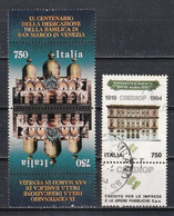 Italie 1994 : Timbres Yvert & Tellier N° 2081 Se Tenant En Tête-bêche Et 2085 Avec Vignette Oblitérés. - 1991-00: Used