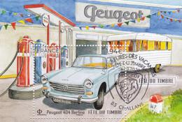 Fête Du Timbre 2020  Bloc  Peugeot 404 Oblitération Du 28 03 2020 Challans - Souvenir Blocks