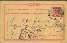 1898,Doppelkarte Mit Kurzem Text Ab NAUMBURG Ursprünglich Nach Togo Adressiert über BATAVIA Nach PADANG,Malayischer Bund - Enteros Postales