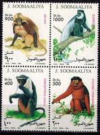 MDA-BK26-526 MINT ¤ SOOMAALIYA 1994 4w In Serie ¤  ANIMALS OF HET WORLD - APES - MONKEYS - Apen