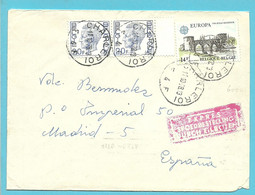 1587+1892 (Europa/CEPT) Op Brief Per EXPRES Stempel CHARLEROI Naar Spanje - Briefe U. Dokumente