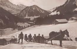 CPA  Suisse, CHAMPERY,  En Hiver, Retour D'une Excursion - Luge Traînée Par Un Cheval,  Carte Photo  1917 - VS Valais