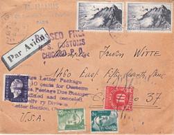 Lettre Entre 41 Et 50g Paris 10 1 1947 Pr Chicago USA Afft à 97F Dont 50F Dulac (déf) Taxe De Dédouanement à L'arrivée - Tarifs Postaux