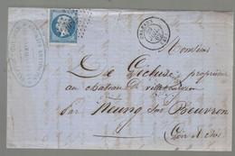 """Oblit. - Losange Petits Chiffres """"2340"""" - Orléans - Lettre Pour Meung-sur-Beuvron  - 29 Juillet 1862 - 1849-1876: Periodo Clásico"""