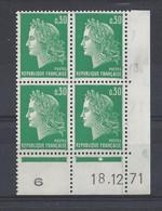 MARIANNE De CHEFFER N° 1611 - BLOC De 4 COIN DATE - NEUF SANS CHARNIERE - 18/12/71   1 Point - 1960-1969