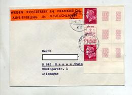 Lettre Cachet Sarrebrucken  Sur Timbre Cheffer Bord De Feuille + Vignette Greve Poste En France - Machine Stamps (ATM)
