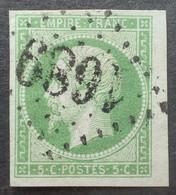 X193 - NAPOLEON III N°12 - Petit Bord De Feuille - GC 1689 : GRANCEY LE CHÂTEAU (Cote D'Or) INDICE 5 - 1853-1860 Napoleon III