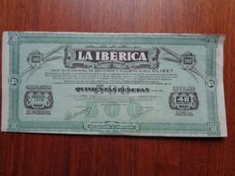 ESPAGNE - RENTERLA 1929 - LA IBERICA : GRAN MANUFACTURA DE BIZCOCHOS Y GALETTAS MARCA OLIBET - TITRE DE 500 PESETAS - Non Classés