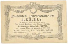 Cpa Avec Pub Au Verso : Musique Instruments J. Köchly , Bourges ( Recto Les Glaneuses ) (PUB) - Pubblicitari