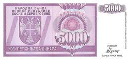 BOSNIE-HERZEGOVINE 1992 5000 Dinar - P.138a Neuf UNC - Bosnie-Herzegovine