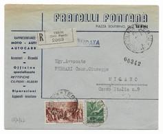 RACCOMANDATA DA TERNI A MILANO - 17.6.1947 - MISTO DEMOCRATICA + AVVENTO. - 1946-60: Marcofilie