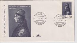 ITALIA REPUBBLICA 1963 PICO DELLA MIRANDOLA   FDC - FDC