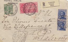 1914 Bella Raccom Da HOTEL ITALIE Firenze Per Palermo Con 3 Valori Gemelli -franc - Storia Postale
