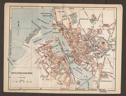 CARTE PLAN 1920 - BOULOGNE Sur MER - CASINO - DOUANE - CHANTIER De CONSTRUCTION - JETÉE CHENAL DIGUE - Topographical Maps