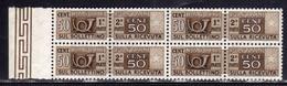 ITALIA REPUBBLICA ITALY REPUBLIC 1955-1979 PACCHI POSTALI CENT. 50c QUARTINA BLOCK FILIGRANA STELLE STARS WATERMARK MNH - Postal Parcels