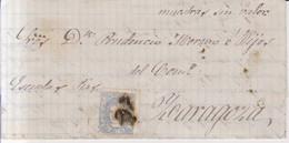 Año 1870 Edifil 107 50m Sellos Efigie Carta De Almazan A Zaragoza - Cartas