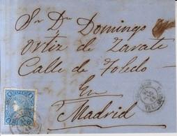 Año 1865 Edifil 75 4c Sello Isabel II  Frontal Matasellos Villalon Valladolid - Cartas