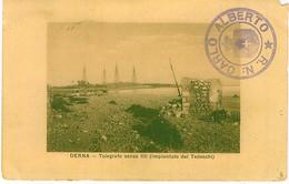 LIBIA DERNA TELEGRAFO SENZA FILI REGIA NAVE CARLO ALBERTO 1912 - Libia