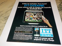 ANCIENNE  PUBLICITE COUPE DU MONDE ITT SCHAUB-LORENZ  1978 - Televisione