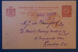 H2 INDE NEERLANDAISE BELLE CARTE 1893 POUR LONDON GB PAR PAQUEBOT+ CACHETS ROUGES + AFFRANCHISSEMENT INTERESSANT - Nederlands-Indië