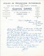 31 Janvier 1946 - ATELIERS DE REPARATIONS AUTOMOBILES - GASTON DANO - 72, Rue Saint-Barthélemy, 72 LAIGLE (ORNE) - Automovilismo