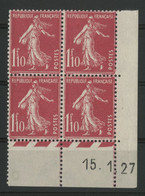 N° 238 COTE 135 € Coin Daté Du 15/1/27. Type Semeuse. Neuf ** (MNH). TB - ....-1929