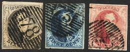 Mooi Gerande Zegels N° 6B+7B+8B Met Geribd Papier  OBP 475 € - 1851-1857 Medallions (6/8)