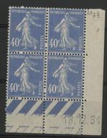 N° 237 Coin Daté Du 18/12/31. Type Semeuse. Neuf * (MH) - 1930-1939