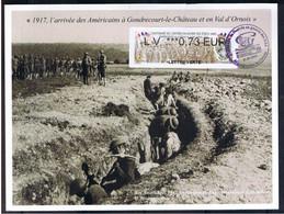 ATM, NABUCCO WINCOR-NIXDORF,LV 0.73€, Centenaire De L'entrée En Guerre Des Usa, Gondrecourt Le Chateau, Domange Aux Eaux - 2010-... Geïllustreerde Frankeervignetten