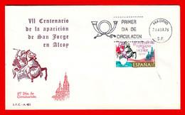 SOBRE DE PRIMER DIA DE CIRCULACIÓN ESPAÑA AÑO 1976 (VII CENTENARIO DE LA APARICIÓN DE SAN JORGE DE ALCON) - FDC