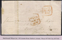"""Ireland Dublin Uniform Penny Post 1840 Coded """"16/PAID/1d"""" Receiving House Stamp On Cover To London PAID MY 14 1840 - Prefilatelia"""