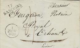 1829- Enveloppe De 17 / SANCOINS ( Cher )  32 X 11 Mm Noir + Cad A  Taxe 4 D Pour Orléans - 1801-1848: Vorläufer XIX