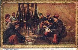 CAMP DE LA COURTINE  La Soupe Sous La Tente Etude à L' Huile D'après Nature Par Jic  Bazar Julian Recto Verso - La Courtine